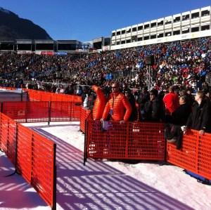 Die Disziplin im Zielbereich: Der Mixed-Zone-Slalom. Quelle: Pistenblogger