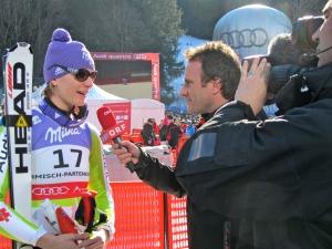 Maria Riesch bei den Kollegen des ORF.